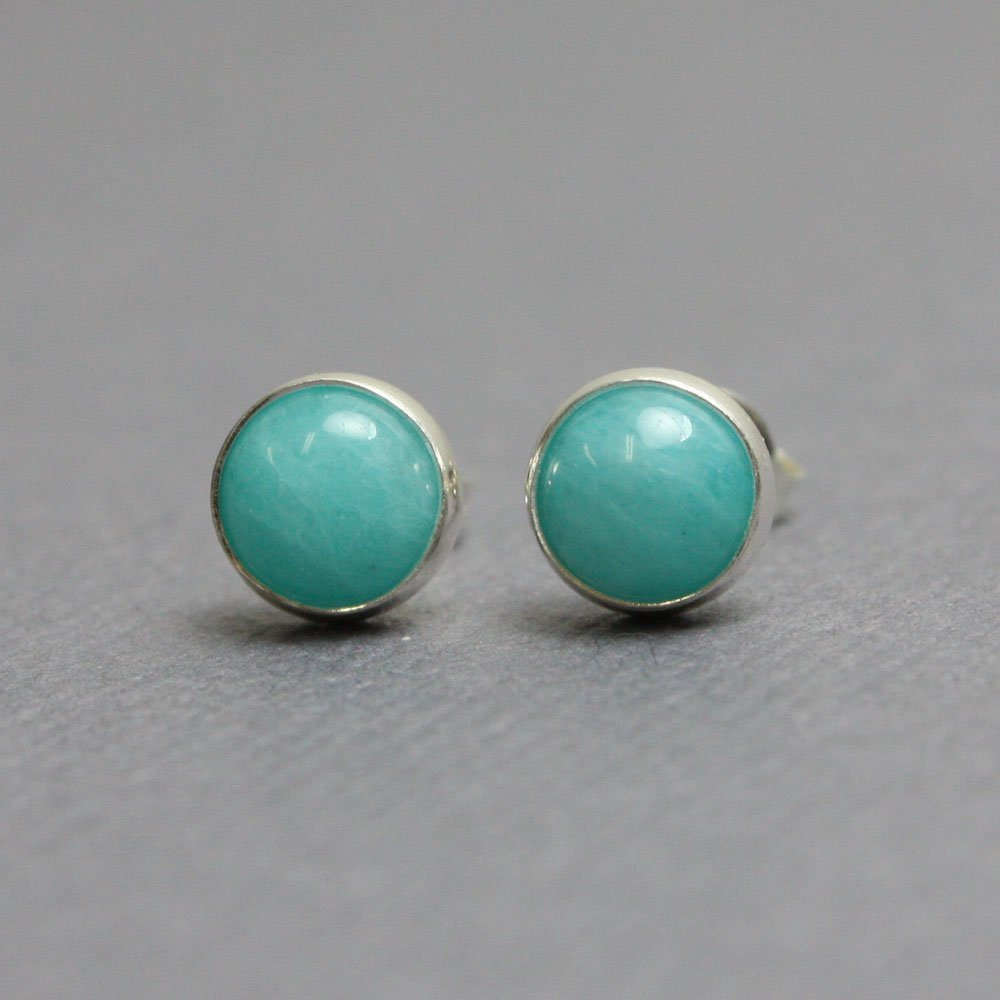 Amazonite Stud Earrings-6mm in all Sterling Silver