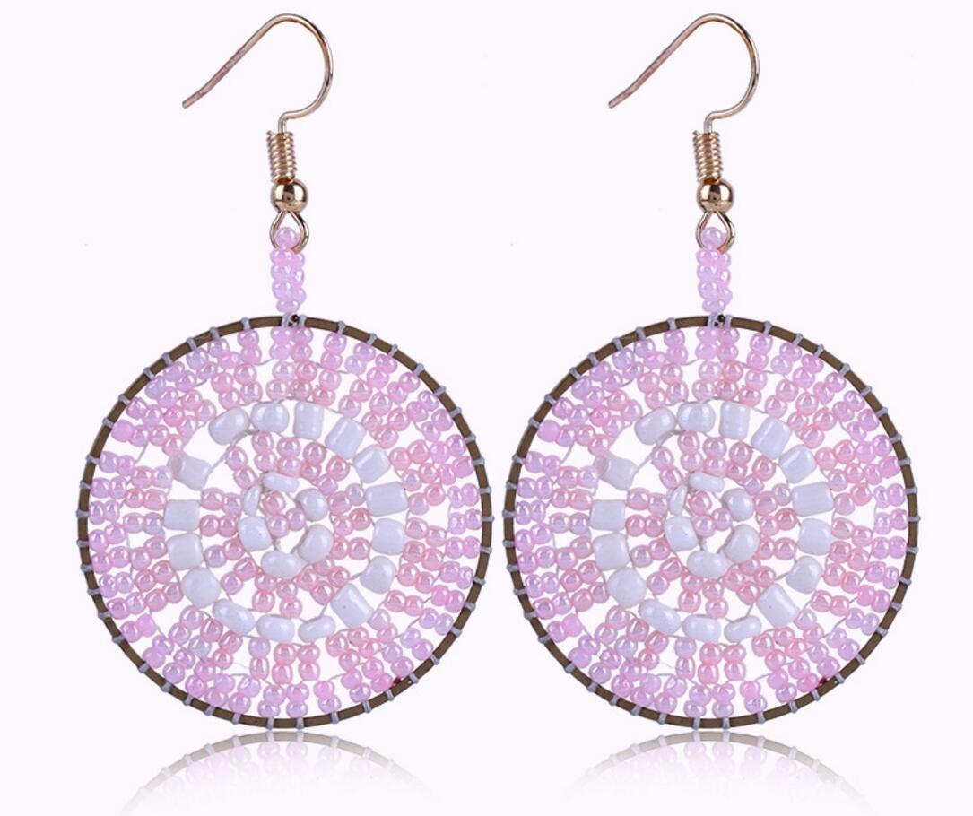 Mizhu geometric pop hand-woven creative earrings