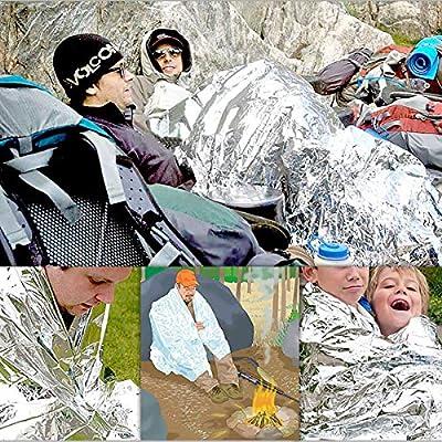 QH-shop Manta de Aslamiento 5 Pack Foil Supervivencia Primeros Auxilios Manta térmica para Esquí Maratón Senderismo Campamento Primeros Auxilio 160 * 210 cm: Amazon.es: Deportes y aire libre
