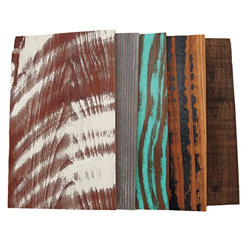Weekend Walls - Reclaimed Weathered Redwood - DIY Easy Peel and Stick Wood Wall Paneling (Sample Pack, All 5 Colors) - Wall Peel