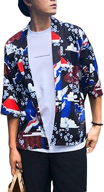 Camisa Kimono Japonés Hombre Manga 3/4 Vintage Cloak Loose ...