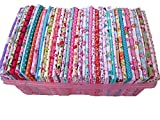 BYY 50-Piece Cotton No Repeat Design Quilting Patchwork Fabric, 7.9 x 9.9-Inch