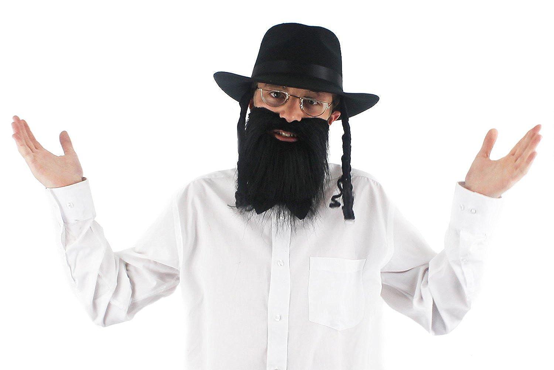 021551b4cbda47 JEWISH RABBI HAT + BEARD + GLASSES FANCY DRESS SET ORTHODOX BLACK HAT CURLY  SIDEBURNS & LONG BEARD: Amazon.co.uk: Clothing