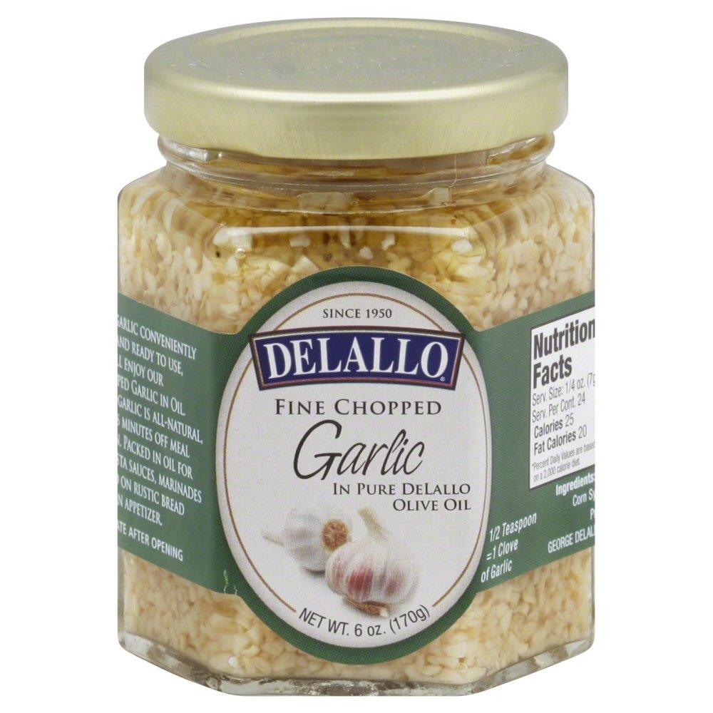 Delallo Fine Chopped Garlic in Pure Olive Oil 6 Oz (Pack of 3)