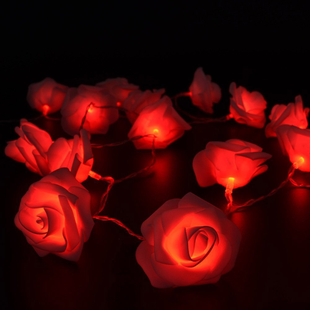 Fairy String Lights Red Rose Flower 20 LED Battery Operated Decorative Light for Wedding Valentine's Day Dreamlike Party Girl's Bedroom