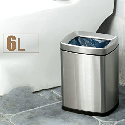 Amazoncom Trash Can Double Layer Stainless Steel Square