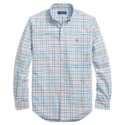 Polo Ralph Lauren Men's Big and Tall Long Sleeves Classic Fit Oxford Buttondown Shirt (XLT, GrnOrngMulti) ()