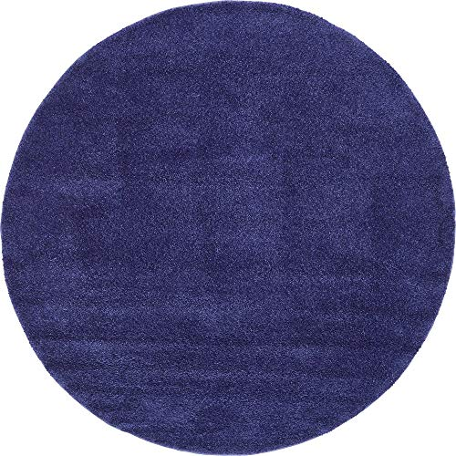 Unique Loom Solo Collection Solid Plush Kids Navy Blue Round Rug (8' 0 x 8' 0) (Best Pet Friendly Carpet)