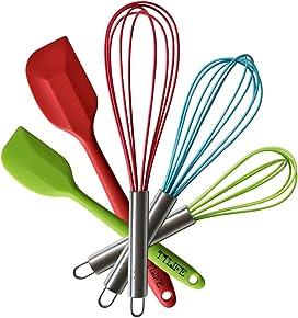 TTLIFE Set de Utensilios de Cocina 5 Unidades(Espátula/Cuchara Espátula/Batidora/Batidora de Mano/Batidora de Reposteria)