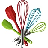 TTLIFE Stainless Steel Silicone Kitchen Utensils Cooking Set Heat Resistant Utensils Cookware 5-Pieces - 3 Silicone Whisk Set and 2 Silicone Spatula Set for Blending, Whisking, Beating & Stirring