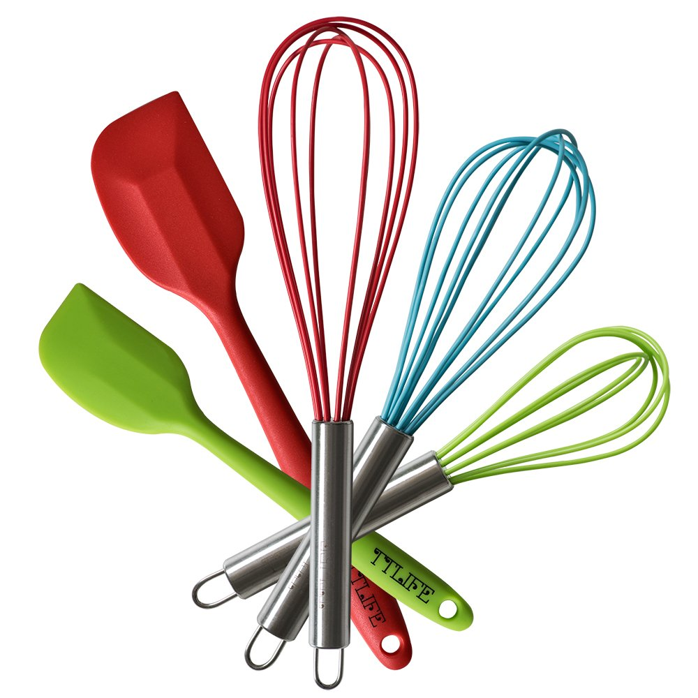 TTLIFE Stainless Steel silicone Wisk Kitchen Whisk, Cooking Utensils Set Heat Resistant Cookware 5-Pieces - 3 Silicone Whisk Set and 2 Silicone Spatula Set for Blending, Whisking, Beating & Stirring