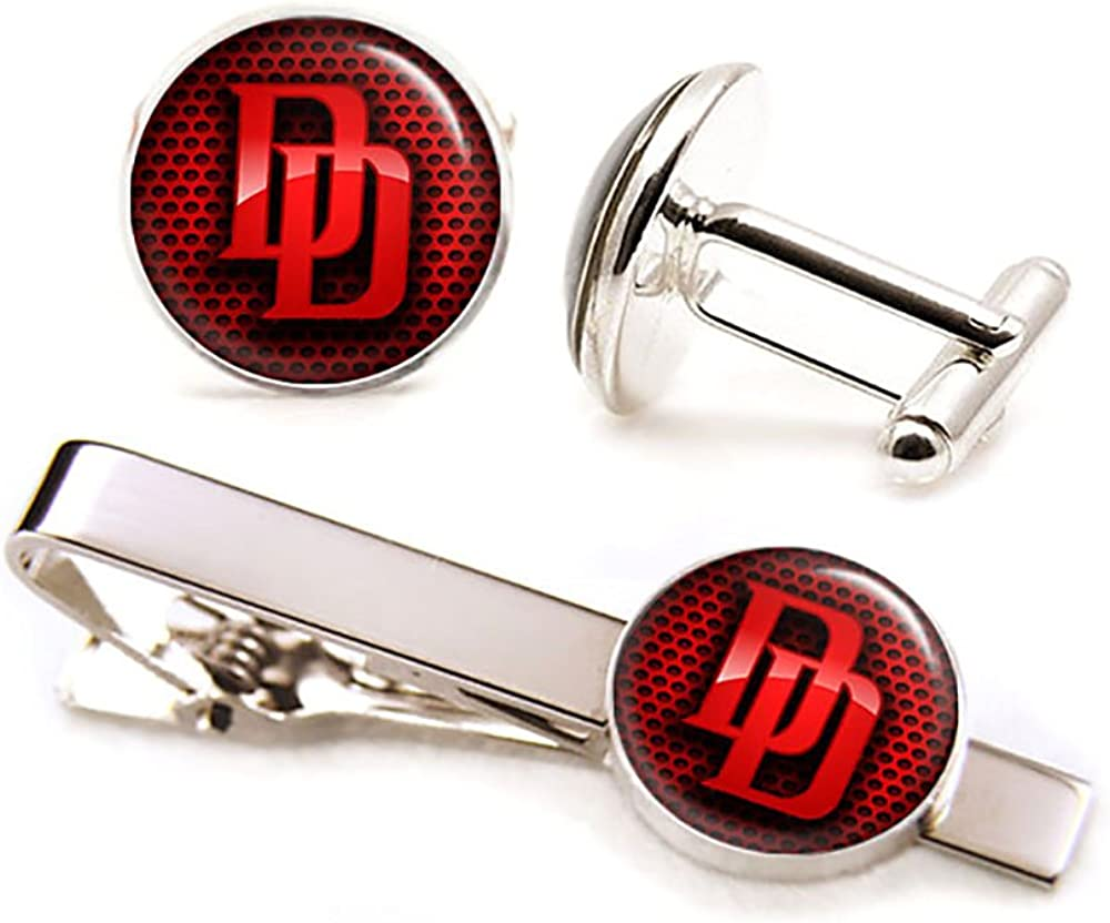 SharedImagination Daredevil Cufflinks, Dare Devil Tie Clip Tack, Avengers Jewelry, Superhero Wedding Cuff Links, Groomsmen Gift