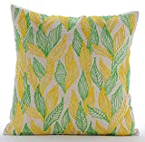 "Designer Green Pillow Shams, Multi Color Jute Leaves Pillow Shams, 24""x24"" Pillow Shams, Square Cotton Linen Shams, - Leaves Change"