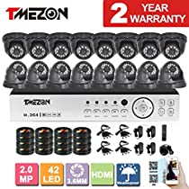 [Better Than 1080N]TMEZON HD 1080P 16 Channel AHD DVR Video Security System with 16 x 2.0MP 2000TVL AHD Cameras 65ft Night Vision NO HDD