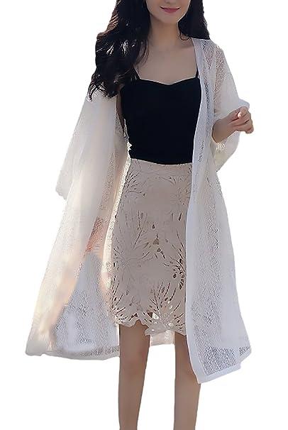 Cardigan Moda Verano Elegantes Mujer Proteccion Solar Fino Vintage Abrigo Joven Bastante Tejido Color Sólido Anchos