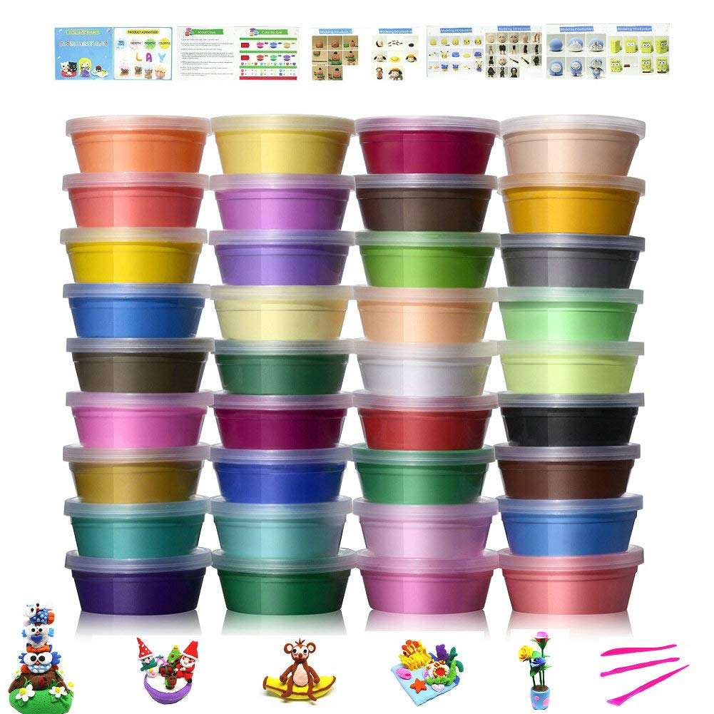 Air Dry Clay Kit,36 Colors Super Light Modeling Clay Set, Soft Modeling Dough with Project Booklet, English Munuals, Wonderful DIY Educational Creative Gift for