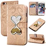 iphone 6S Plus Purse Case,Auker Women Vintage Leather Folio Flip Bling Wallet Case With Flowing Glitter Sand Hourglass Timer Magnetic Fold Stand Card Holder Cover w/ Strap for iphone 6 Plus (Gold)