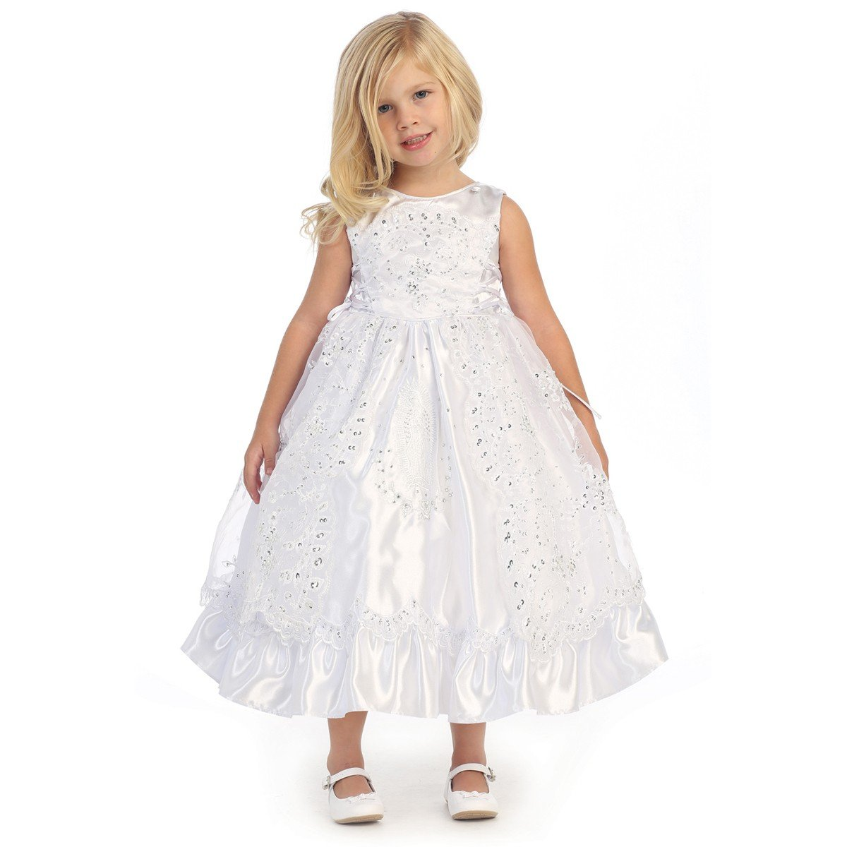Angels Garment Baby Girls White Organza Embroidered Flower Girl Dress 12-18M