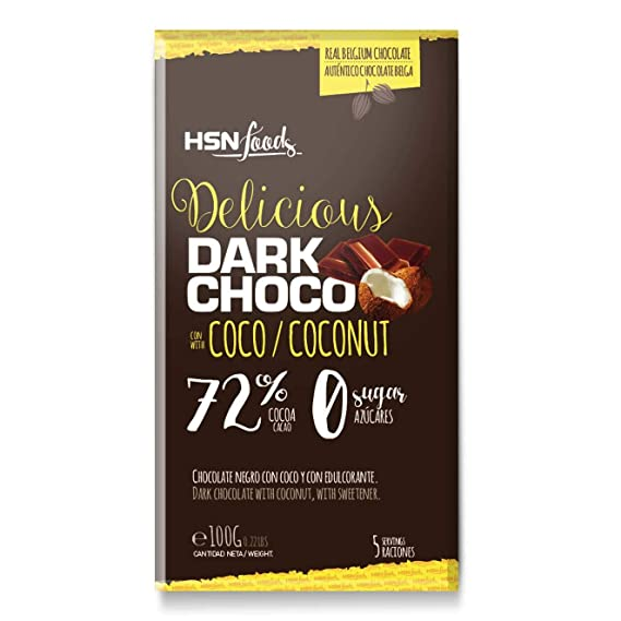Tableta de Chocolate Sin Azúcar de HSN Foods, Dark Coconut Chocolate 72% Cacao y 5% Coco, Snack Fitness, Saludable, Sin Gluten, Apto Vegetarianos, Sin ...
