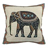 Luxbon Cotton Linen Sofa Chair Seat Throw Pillow Case Cushion Cover Decorative Insert Not Included - Tapestry Jacquard Retro Indian Elephant