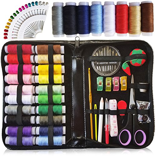 XL Sewing KIT, DIY Quality Sewing Supplies, 28 XL Spools of Thread, Extra 8 XL Most Useful Colors of Threads & 18 Extra Long Sewing pins - Beginners, Emergency, Kids, Summer Campers and Home by ARTIKA