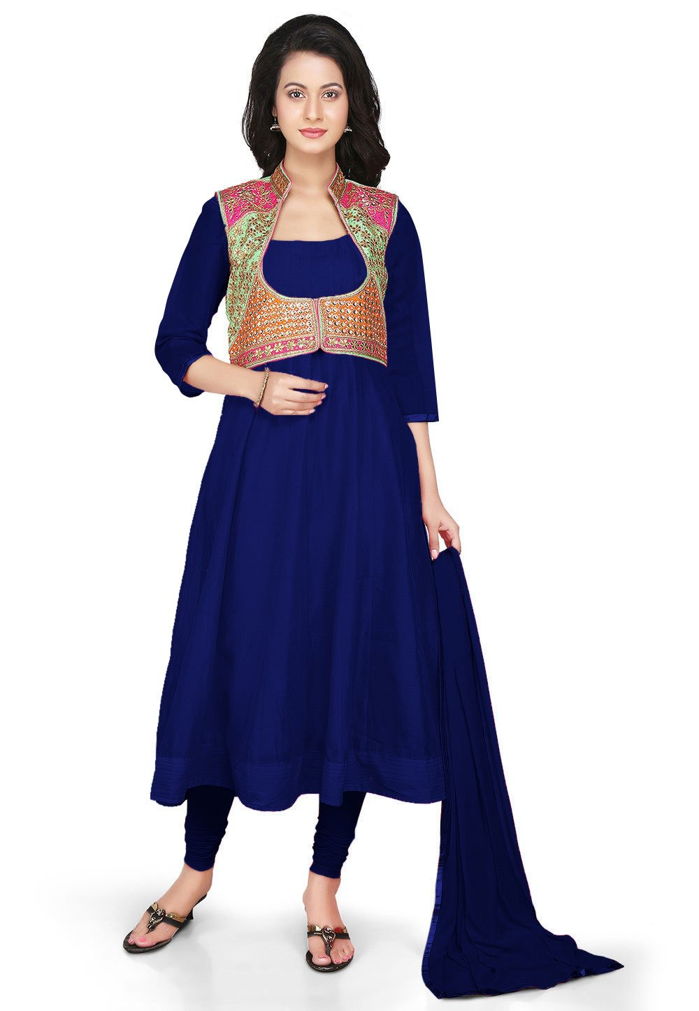 Utsav Fashion Chanderi Anarkali Suit in Dark Blue With Gota Patti Jacket by Utsav Fashion