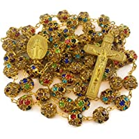 Colorful Zircon Beads Golden Rosary Catholic Necklace Miraculous Medal Cross Nazareth Store Velvet Gift Bag