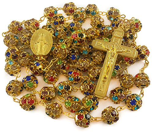 Nazareth Store Multicolor Crystal Zircon Beads Golden Rosary Catholic Colorful Bead Necklace Miraculous Medal Cross, Velvet Bag Case