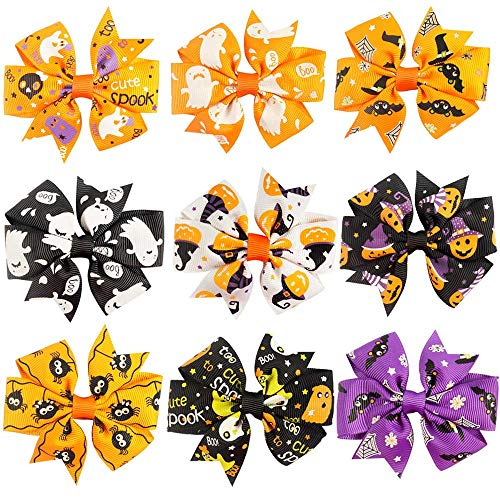 Halloween Hair Bow Ideas (TraderPlus 9 Pcs Baby Girls Kids Halloween Pumpkin Hair Bow Bowknot Hairpin with Clip - 3)