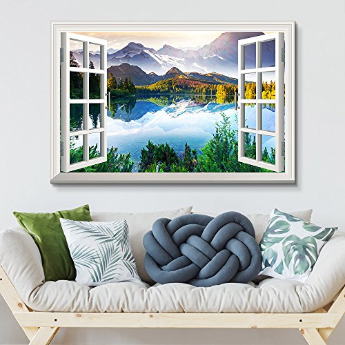 Window View Landscape with Peaceful Lake in Mountains