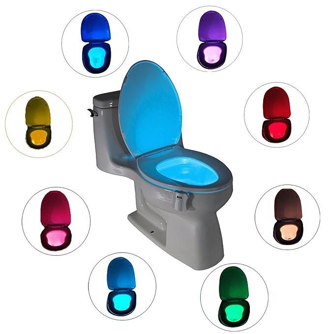 Light Up - Asiento para inodoro con tapa, 8 colores luz - Sensor de movimiento LED inodoro luz baño Glow cuenco para inodoro lámpara: Amazon.es: Bebé