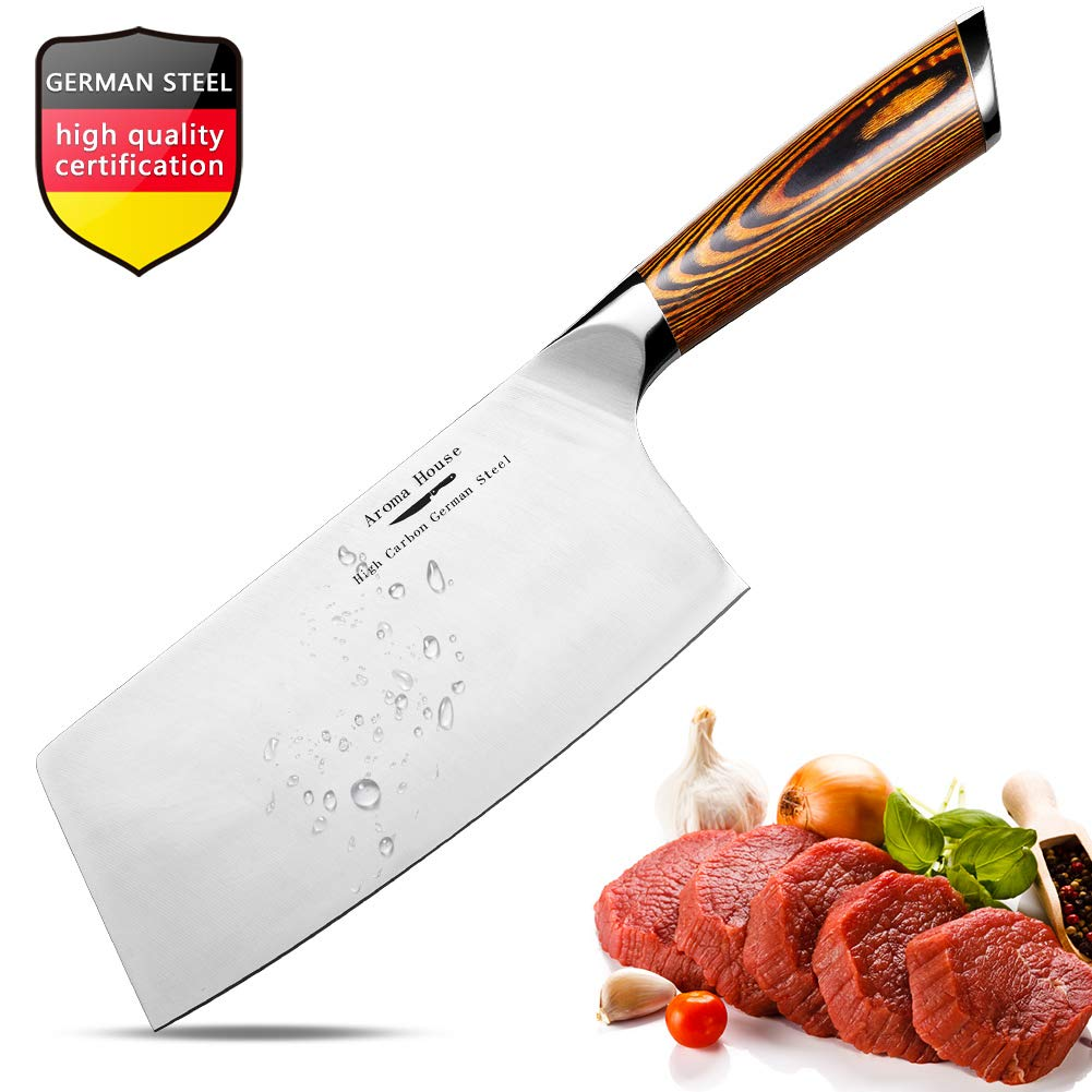 Aroma House Chinese Chef's Knife-7 inch Vegetable and Meat Cleaver Knife, German Stainless Steel Kitchen Knife with Full-tang Pakkawood Handle for Home, Kitchen & Restaurant, Gift Box by Aroma house