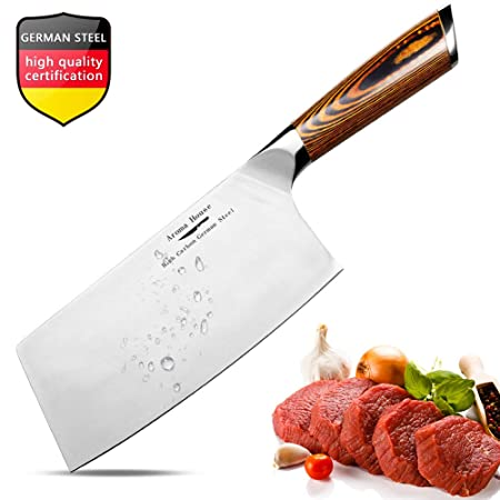 Aroma House Chinese Chefs Knife-7 inch Vegetable and Meat Cleaver Knife, German Stainless Steel Kitchen Knife with Full-tang Pakkawood Handle for ...
