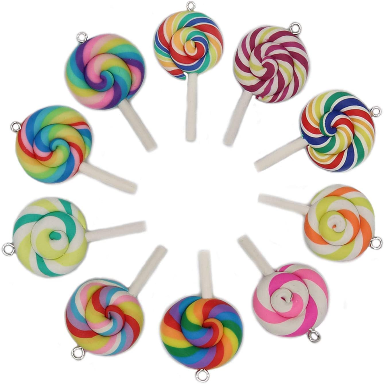 20 Pcs Colorful Polymer Clay Lollipops Pendant Charms