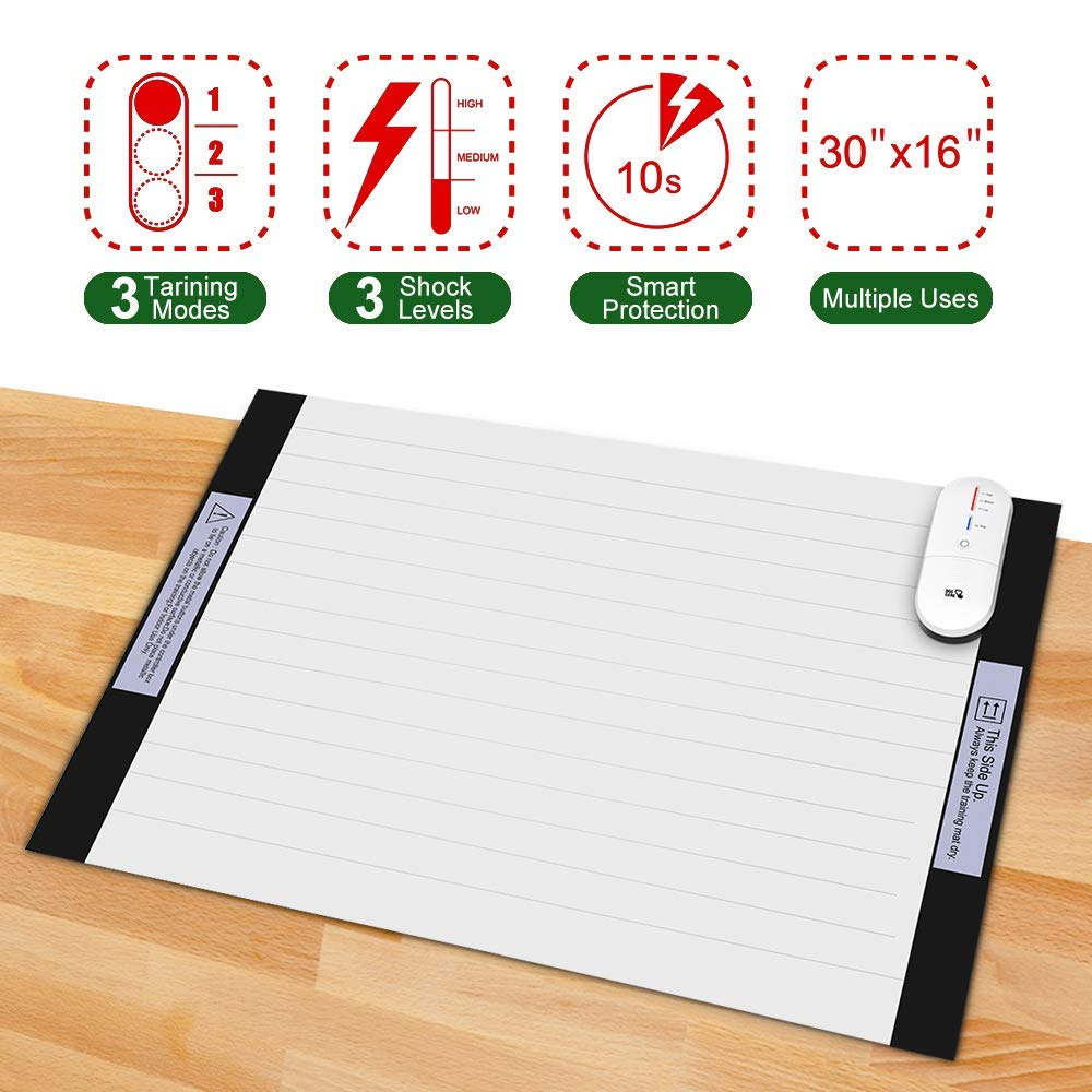 Pet Training Mat, DOGCARE Pet Shock Mat for Dogs & Cats with 3 Training Mode, 3 Shock Level, Safety, Low Voltage Battery for Pet Training, Keep Dog for Couch Doorways Furniture, 30x16 Inches by DOG CARE