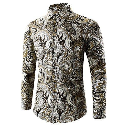 CUCUHAM Mens Hawaiian Shirt 3D Print T-Shirt Sports Long Sleeve Tees Blouse Top ()