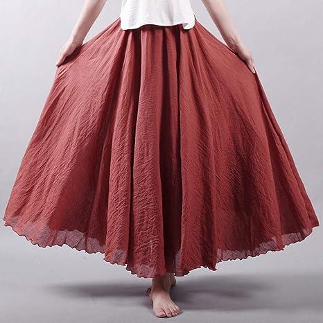 HEHEAB Falda Dividida Falda Dividida La Mujer Ropa De Cama De Algodón Cintura Elástica Faldas Largas Faldas Maxi Plisada Playa Boho Vintage Faldas De Verano: Amazon.es: Deportes y aire libre