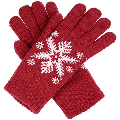BYOS Womens Winter Ultra Warm Plush Fleece Lined Knit Gloves With Various Pattern Design (Red Snowflake) by Be Your Own Style (Image #1)
