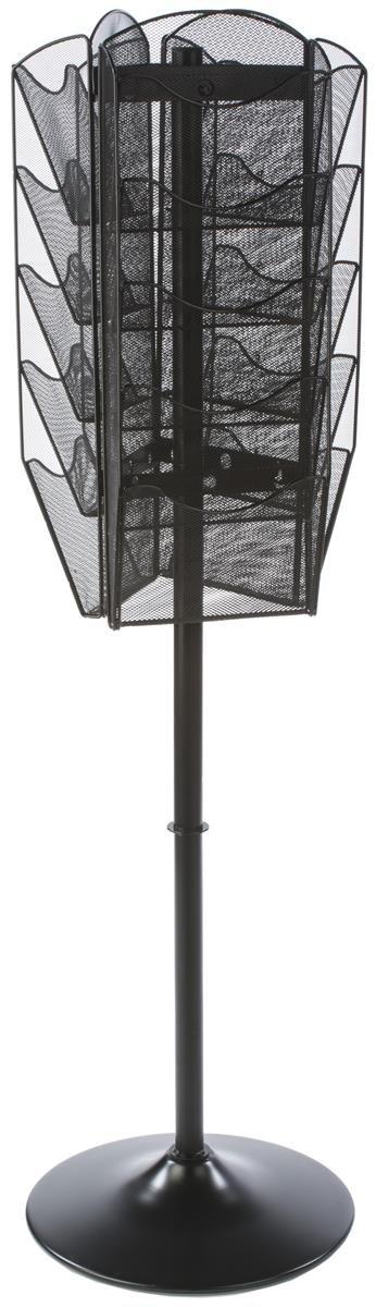 Floor Standing Literature Rack, 15 Dividable Pockets, Rotating (Black Steel Mesh)