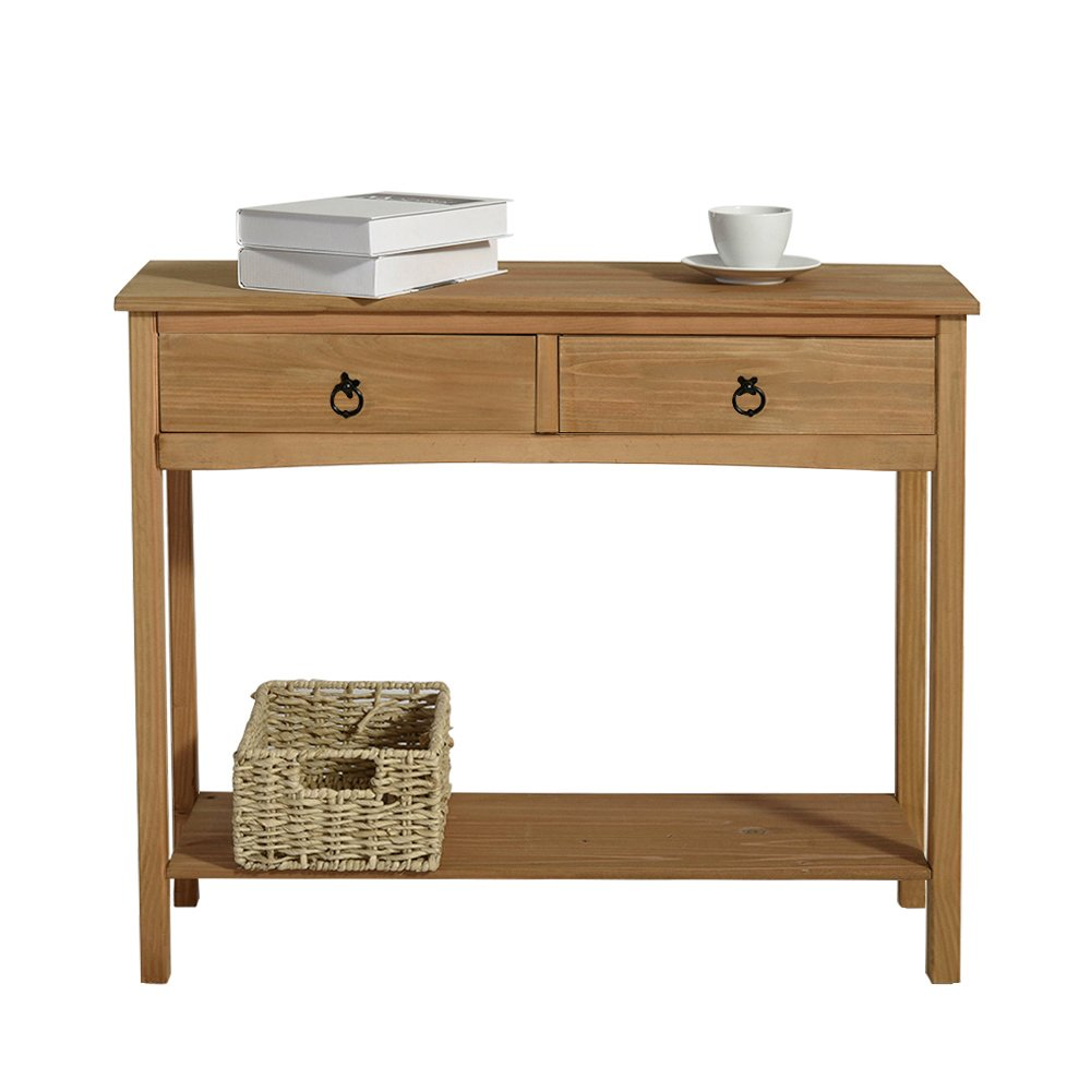 Beshomethings Pine Wood Side Console Table with 2 Drawers and 1 Shelf Storage Wooden Hall Desk for Dining Living Room Hallway Home