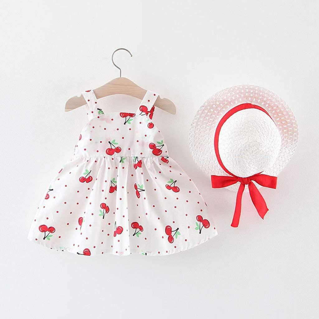 Riou Kleinkind Baby Kinder M/ädchen Sommer Kleider /Ärmellos Blumen Print Prinzessinkleid Sommerkleid Bogen Outfits Hut Set