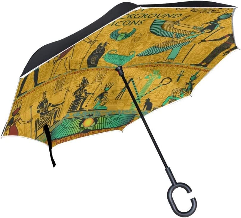 GOP Store Egypt Pattern Windproof Reverse Umbrella Double Layer Inverted Self Stand Umbrella for Car doublelayerumbrella doublelayerinvertedumbrella