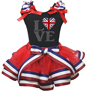 Petitebella USA Heart White Shirt Red Blue Stars Ribbon Petal Skirt Outfit Nb-8y