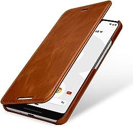 StilGut Housse pour Google Pixel 3 XL Book Type en Cuir, Cognac