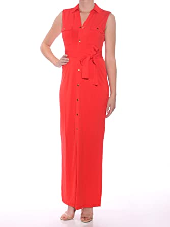Onwijs Olivia Grace Belted Maxi Shirtdress (Fiery Red, Small) at Amazon RF-27