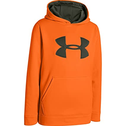 Under Armour Boys Camo Big Logo Hoody Blaze Orange / Thyme Small