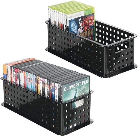 mDesign Caja de almacenaje para DVDs o CDs – Porta CD y DVD – Cajas de plástico de color negro – Caja organizadora para Blu-ray y videojuegos - Paquete de 2: Amazon.es: Hogar