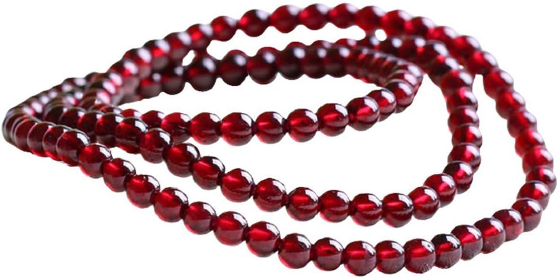 Happyyami 1 Hebra de Granate Piedras Preciosas Curación Pulsera de Chakra Perlas Sueltas Cuentas Redondas de Oración Artesanía Diy Joyería Que Hace Cuentas (Clarete 4. 0 Mm)