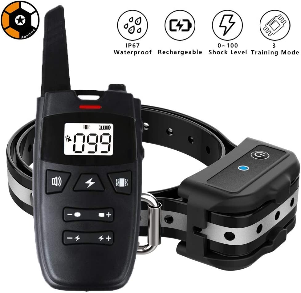AumKou Dog Training Collar with Remote, 2019 Rechargeable Dog Shock Collar w 3 Training Modes, Beep, Vibration and Shock, Up to 1600Ft Remote Range, IP67 Waterproof 0 100 Shock Levels Training Set
