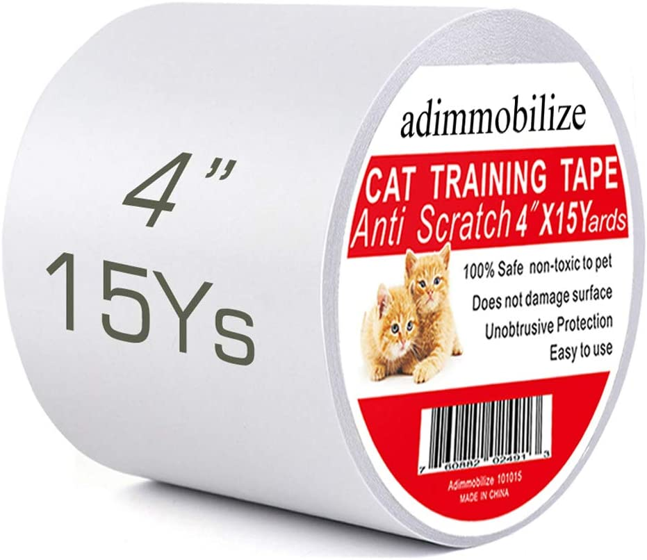 adimmobilize Cat Scratch Deterrent Tape - Anti-Scratch Cat Training Tape for Couch, Furniture, Door, 100% Transparent Clear, Removable, Residue-Free, Non-Toxic